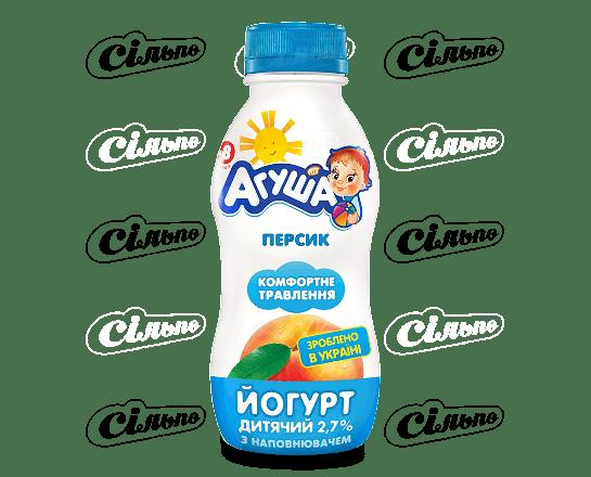 Йогурт «Агуша» дитячий персик 2.7% 200г