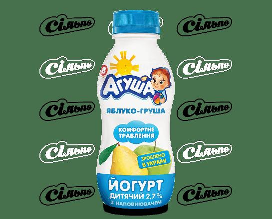Йогурт «Агуша» дитячий яблуко-груша 2.7% 200г