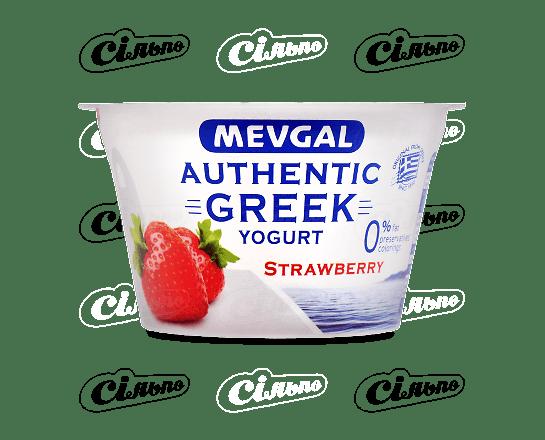 Йогурт Mevgal «Грецький» зі шматочками полуниці 0.9% 150г