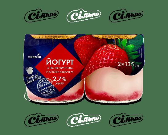 Йогурт «Премія»® з полуницею 2.4% 2*135г/уп