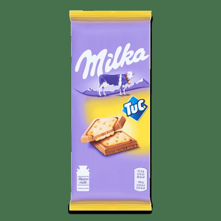 Шоколад молочний Milka з солоним крекером Tuc 87г