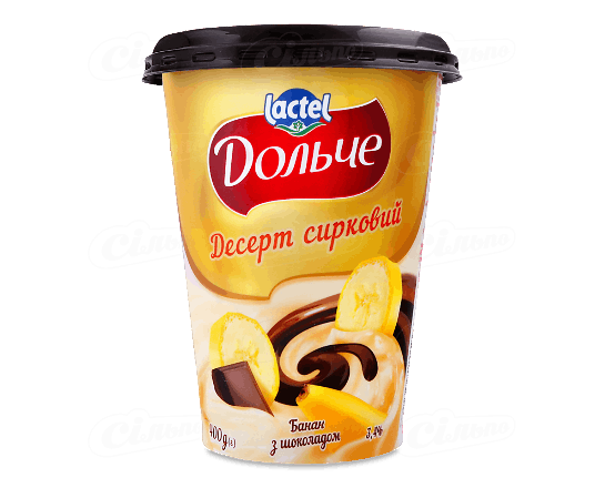 Десерт сирковий «Дольче» банан з шоколадом 3.4% 400г