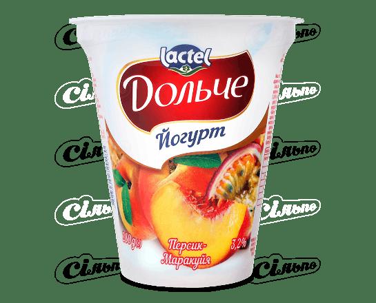 Йогурт «Дольче» з наповнювачем персик-маракуя 3.2% 280г