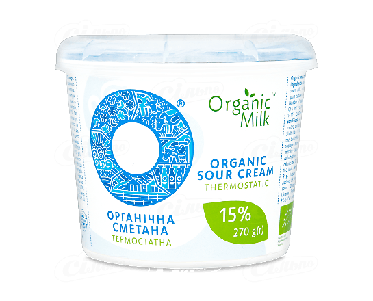 Сметана Organic Milk термостатна органічна 15% 270г