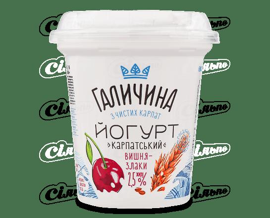 Йогурт «Галичина» «Карпатський» вишня-злаки 2.5% 280г
