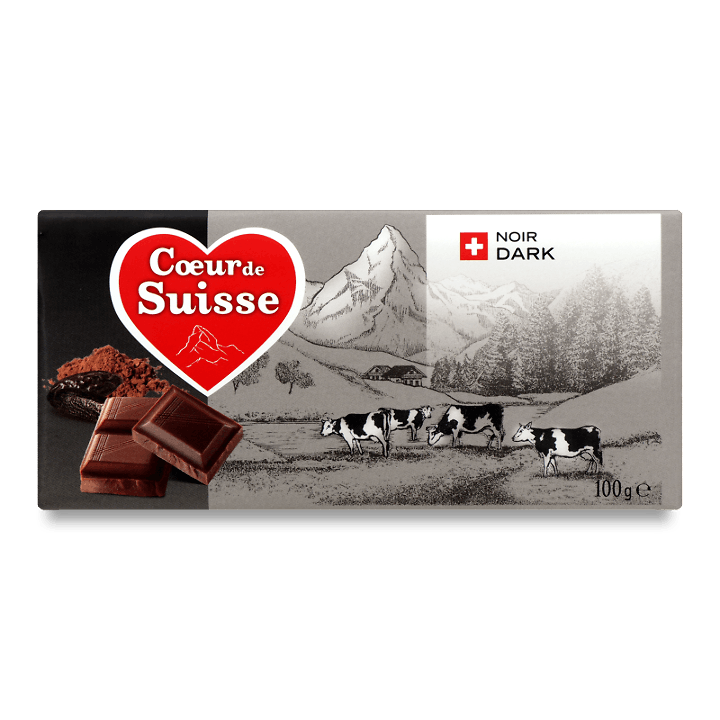 Шоколад чорний Coeur de Suisse 100г