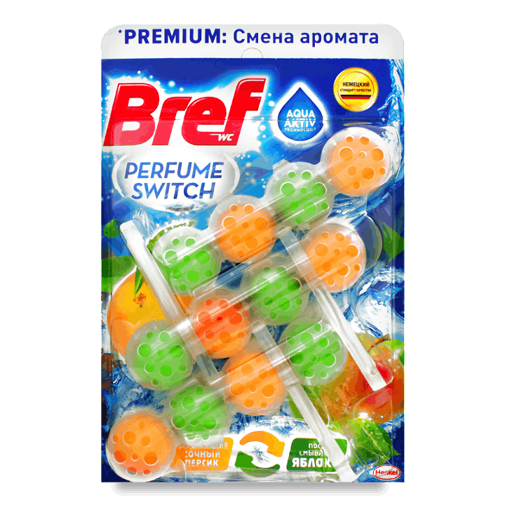Блок туалетний Bref «Зміна аромату» солодкий персик-яблуко 3*50г