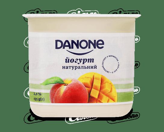 Йогурт Danone манго персик 2% стакан 135г